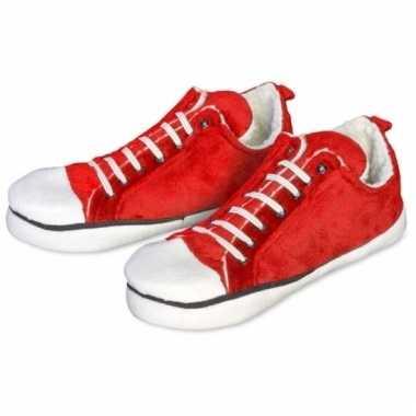 Rode enkel sneaker sloffen voor dames
