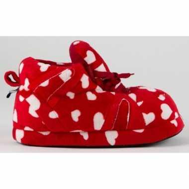 Sneaker sloffen dames hartjes rood