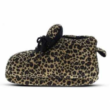 Sneaker sloffen dames luipaard bruin