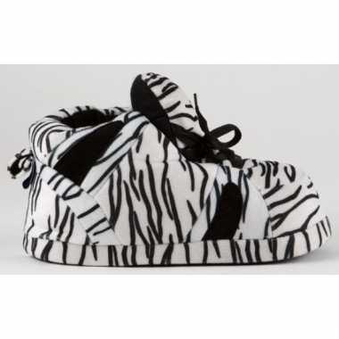 Sneaker sloffen dames zebra zwart/wit