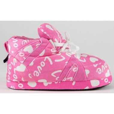 Sneaker sloffen meisjes roze love