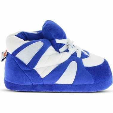 Sneakers sloffen/sloffen blauw/wit voor heren
