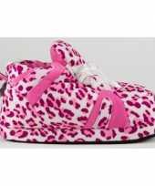 Sneaker sloffen dames luipaard roze
