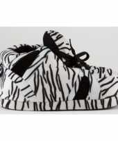 Sneaker sloffen dames zebra zwart wit